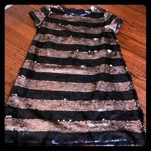 Blue and gold Sequin shift dress for girls size 5